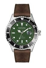 KAHUNA MEN'S GREEN DIAL BROWN  STRAP WATCH - KUS0127G - RRP:£50