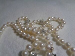 Designer IPS Freshwater Pearl Necklace and matching Bracelet set in Sterling Sil