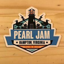 Pearl Jam Sticker Hampton Virginia April 18, 2016 Official Decal Eddie Vedder