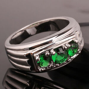3-stone Men 925 Sterling Silver Ring Size 10 to 13 Heavy Band Classic Jewelry