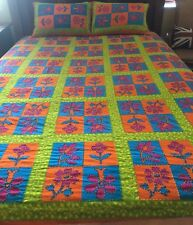 HANDMADE HAND DYED HAND STITCHED Boho Hippie Chic Bedcover + Matching Shams F/Q