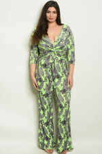 Women's Plus Size Jumpsuit lounger  one piece Green PAISLEY 1X NWT