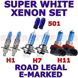 FITS RENAULT CLIO 2001-2003 SET H7 H1 H11 501 HALOGEN XENON EFFECT LIGHT BULBS