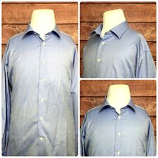 David Donahue TRIM Mens Shirts L/S Micro Dots Blue White Size 18.5 34/35