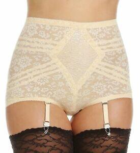 Rago Shapewear Lacette Floral Print 4 Strap Garter Beige Shaper Brief Size 38/4X
