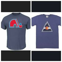 (2) NHL Colorado Rockies/Quebec Nordiques Retro Tek Patch T-Shirts Medium NEW