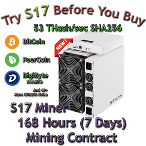 AntMiner S17 Rental. 53 Th Guaranteed 168 Hours Mining Contract Lease SHA256 BTC