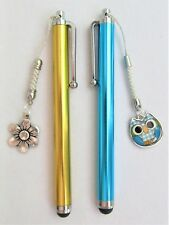 #5306- HANDCRAFTED BLUE GOLDEN TOUCH SCREEN CAPACITIVE STYLUS, OWL FLOWER CHARMS