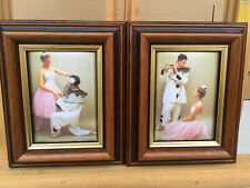 Pair of small framed ballet padded pictures lot BR121010D