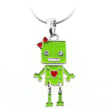 "Beautiful Green and Red Color Robot Shape Pendant with Crystals and 16"" Chain"