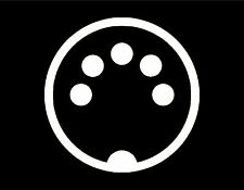 "MIDI Plug VINYL WINDOW DECAL 4"" Round KEYBOARDS SYNTHESIZERS RECORDING MUSIC"