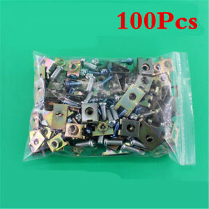 100 Pcs U-Type Mixed Metal Car SUV Door Panel Screw Fastener Clips Moudling Trim