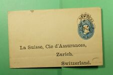 DR WHO 1892 NY STATIONERY WRAPPER TO SWITZERLAND f51532