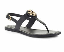 dcbd29bfb Tory Burch Bryce Leather Flats Thong Sandals Black 8