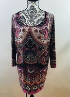 Kate & Mallory Womens Size XL 3/4 Sleeve Paisley Boho Tunic