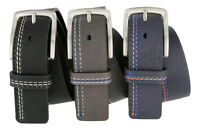 Triple Stitched Design Genuine Leather Casual Jean Belt, Black Navy or Gray!