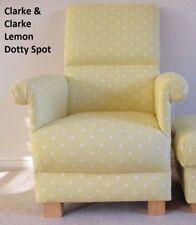 Clarke Lemon Dotty Spot Fabric Adult Chair Armchair Yellow Polka Dots Nursery