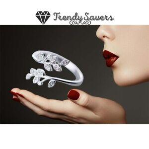 High Polish Leaf Ring Comfort Fit Open Adjustable 925 Sterling Silver Wedding
