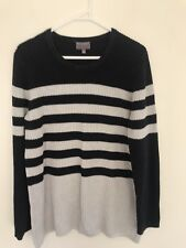 🌟 WITCHERY Blue And Grey Cotton Knit Striped Textured Jumper Sz L