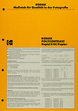 Kodak Polycontrast RapidI I RC Ppaier - Kodak Datenblatt P-E4