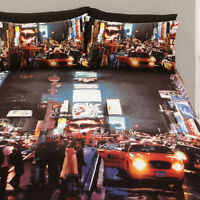 New York Times Square Duvet Doona Quilt Cover Set | NYC Broadway | Taxi | Double