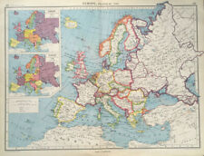 Antique Map Of Europe 1947 Political France Germany England Spain Italy