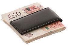REDBRICK de lujo para hombre de cuero genuino magnética dinero Clip cartera negra delgada