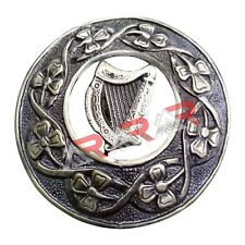 "Kilt Fly Plaid Brooch Thistle Harp Design Badge High Quality Antique Finish 3"""