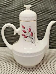 Antique Pretty Teapot Tea Pot Coffee Maker Gien France Image Floral And Gilding