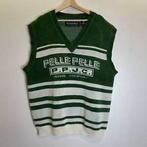 Vintage Pelle Pelle Jeans Company Green and White Striped Sweater Vest Sz XXL