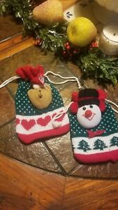 2 KNITTED DRAW STRING GOODY BAG SNOWMAN TEDDY PLUSH HEAD FOR CANDY,GIFTS,COOKIES