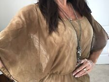 Daytrip Buckle Brown Sheer Lace Flutter Short sleeve Blouse Top Shirt sz S Small