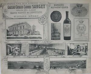 1908 CHATEAU CRUAUD LAROSE SARGET BORDEAUX WINERY WINE FRENCH PHOTOGRAPHIC VIEWS