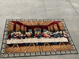 Vintage Persian Rug THE LAST SUPPER Jesus & The Disciples Wall Art 48/70 ❤️sj3j