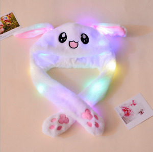 Bunny Hat Light Up Cute Plush Rabbit Hat Moving Ears With Colorful LED Light