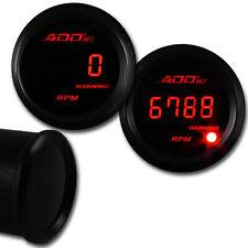 """52mm Led 2"""" RPM Digital Tacho shift light Black Face Tachometer Gauge  - RED"""