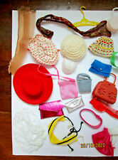 LOT VTG BARBIE FASHION DOLL TYPE ACCESSORIES-HATS, PURSES OTHERS NO LABELS