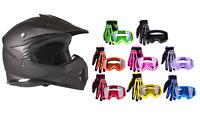 Kids Motocross Matte Black Helmet Youth Combo Goggle Gloves DOT ATV UTV MX