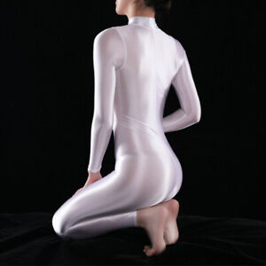 Women Sexy Shiny Bodysuit Catsuit Leotard 2 Way Zipper Silky Jumpsuit Clubwear