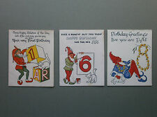 3 X C1940'S UNUSED BIRTHDAY CARDS WITH GNOMES & CATS - 1ST, 6TH & 8TH BIRTHDAYS