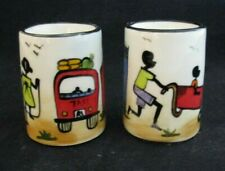 """Hand Crafted African Art Pair of Ceramic Votive Candle Holders """"One of a Kind!"""""""