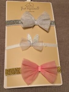first impressions headbands baby girl silver white pink gold new with tags