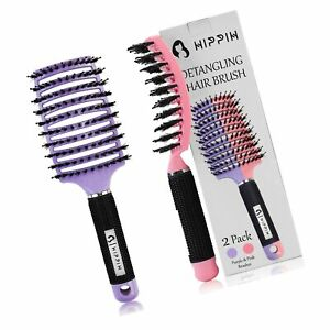 Boar Bristle Hair Brush Set of 2, HIPPIH Wet & Dry Hair Brushes Made by Fine ...