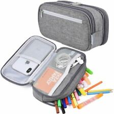 More details for large big 3 zipped canvas pouches boys girls pencil case school office organizer