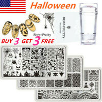 Christmas Halloween BORN PRETTY Nail Stamping Plates Image Template Stamper Kits