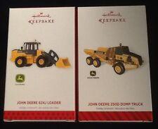 """2013-14 ~ HALLMARK ORNAMENTS~ JOHN DEERE ~""""624J LOADER & 250D DUMP TRUCK""""~ MNIB"""