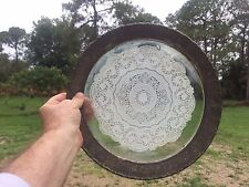 DOILY in TRAY (ORNATE WHITE METAL) 13 INCH DIAMETER OLD STYLE with PLASTIC RING