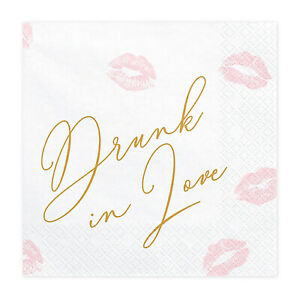 DRUNK IN LOVE HEN PARTY NAPKINS - Pink and Gold Bride to Be Elegant Hen Night