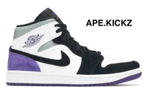 "Nike Air Jordan 1 Mid ""Court Purple/ Black"" 852542-105 - Mens Size 9.5 & 12"