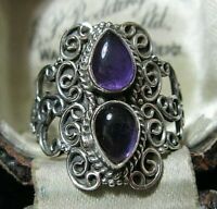 Beautiful Sterling Solid SILVER Real AMETHYST Gem Stone RING Jewellery Size S 9